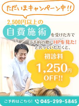 横浜市 ライフガード接骨院・整体院 ホームページ特典